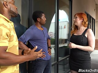 Curvaceous white milf Lauren Phillips is fucked by two hot blooded black guys