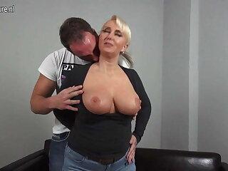 Sexy big breasted German mom fucking young boy
