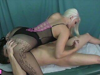 Macy Cartel Face Sitting Handjob cum on fishnets