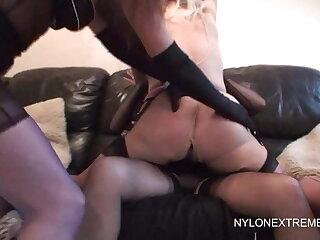 Three nylon lesbian girls enjoy double dildo