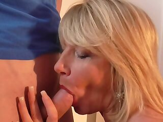 Mature British mom Amy seduce young lucky son