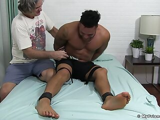 Gagged deadly dude ass fucked in kinky gay posture