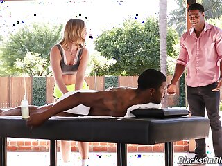 Black dudes share this hot masseuse in a not roundabout harsh XXX play