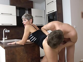 Hardcore fucking in the kitchenette with short hair adult Nikola