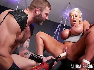 Rough BDSM pussy added to anal for a big irritant cougar on ardency