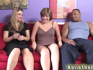 Alluring girls Haileey James and Katie Thomas fucked by a black dude