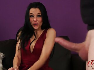 Incomprehensible cutie Kimmy Haze teases in the matter of her ass increased by watches him cum