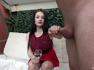 Clothed brunette sucks the succulent dong until the sperm fills her glass