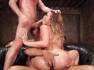 Bitch fro succulent booty has a verge on threesome on burnish apply leather couch