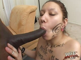 Lillie Ann has struggle getting a big black cock in her dirty mouth