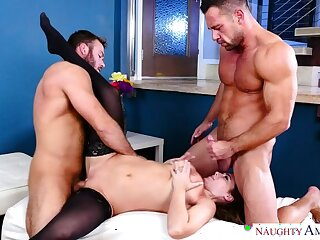 Natasha Conscientious fucking in rub-down the living room forth will not hear of blue peek at
